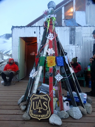 Our JIRP-mas tree made out of old wooden skis on the porch at Camp 10