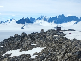 Camp 10 (the largest camp on the Icefield) with the Taku Towers in the background