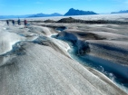 Beautiful meltwater channels on the Llewelyn glacier