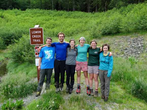 The first trail party at the trailhead, ready for our hike up to Camp 17!