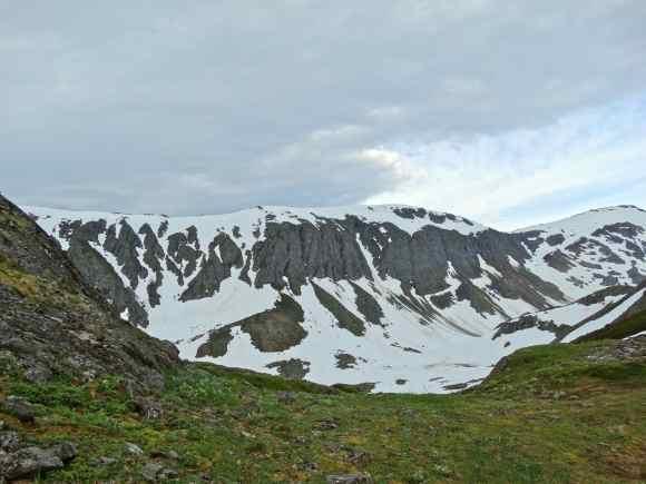 Looking towards the terminus of the Ptarmigan glacier