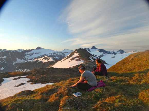Annie and Mary watching the sunset above Camp 17