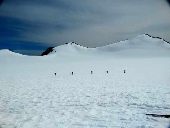 Roped ski practice