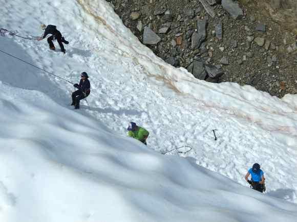 Crevasse rescue practice in the moat