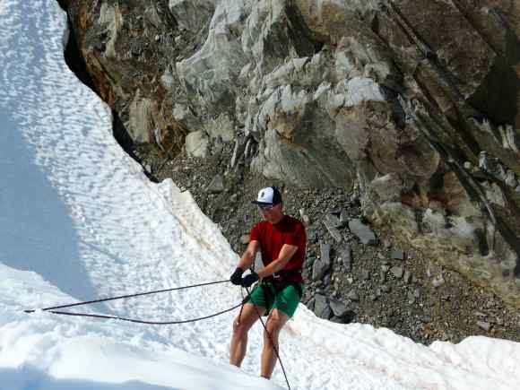Grayson practices rappelling