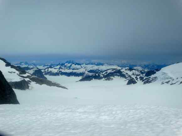 The spectacular view of the icefield from lunch rocks. Devil's Paw is the large three-pointed mountain in the background.
