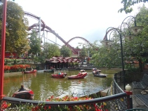 Boats at Tivoli with the Demon roller coaster in the background