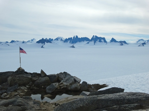 The view of the Taku Glacier and Taku Towers from the Camp 10 Cookshack