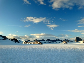 Mountains around the upper portion of the Taku Glacier during one of the overnight trips
