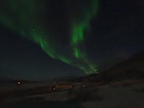The Northern Lights in full display above Kangerlussuaq on our second night in Greenland
