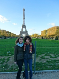 My mother and I in front of the Eiffel Tower