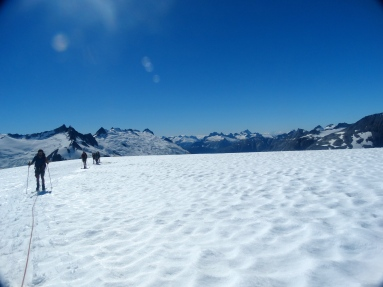 Roped skiing on the Vaughn Lewis glacier
