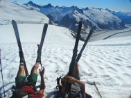 Grayson and I relaxing on a roped ski trip above Camp 18