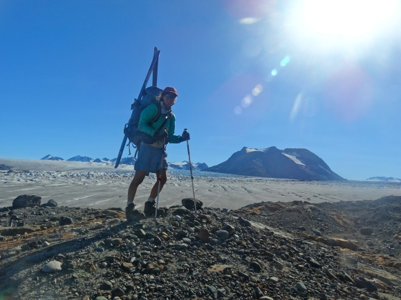 On the toe of Red Mountain with my skis on my pack