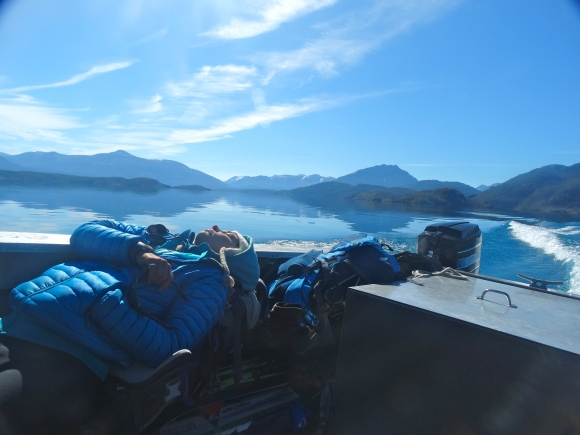 We were quite tired on the boat ride to Atlin!