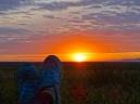 Enjoying the midnight sun over the Arctic Ocean